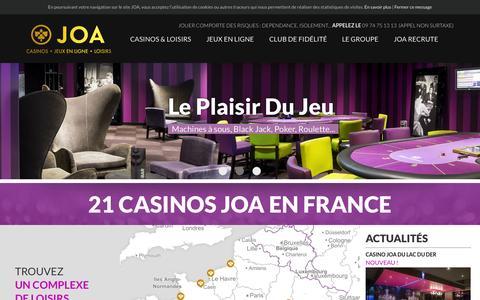 Screenshot of Home Page joa-casino.com - Casinos, black jack, poker, jeux en ligne - JOA - captured Sept. 10, 2015