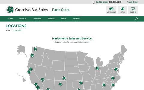 Screenshot of Locations Page creativebussales.com - Locations - captured Jan. 20, 2018