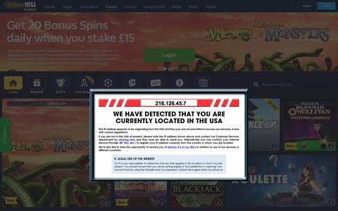 Screenshot of Login Page williamhill.com - William Hill Casino Online - Get started with a £300 welcome bonus - captured Sept. 22, 2018