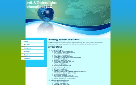 Screenshot of Services Page indus-tech-intl.com - IndUS Technologies International LLC Services - captured Oct. 6, 2014