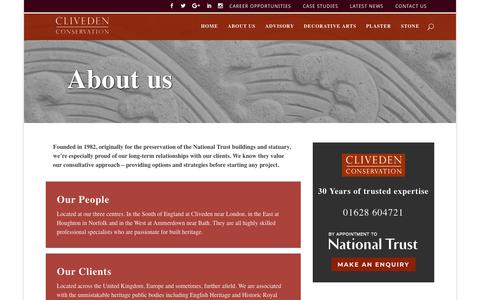 Screenshot of About Page clivedenconservation.com - About Us   Cliveden Conservation - captured July 19, 2018