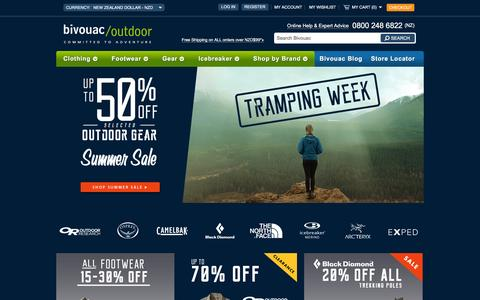 Screenshot of Home Page bivouac.co.nz - Premium Outdoor Clothing and Equipment - Bivouac Outdoor - Bivouac Online Store - captured Feb. 7, 2016