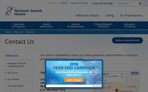 Screenshot of Contact Page nationaljewish.org - Contact National Jewish Health - captured Dec. 12, 2018