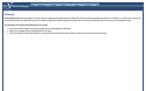 Screenshot of Products Page verticalmanage.com - Vertical Manage Group - Products - captured Oct. 9, 2014