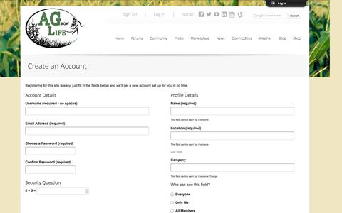 Screenshot of Signup Page theagrowlife.com - The AGrow Life - captured Oct. 4, 2014