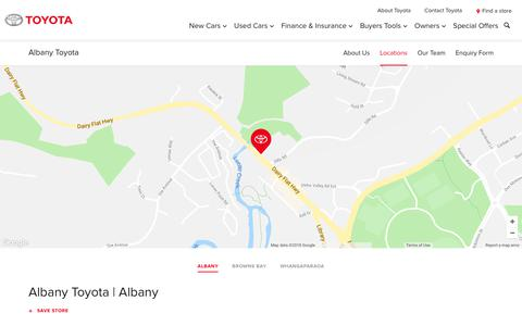 Screenshot of Locations Page toyota.co.nz - Albany Toyota | Albany - Toyota NZ - captured July 29, 2018