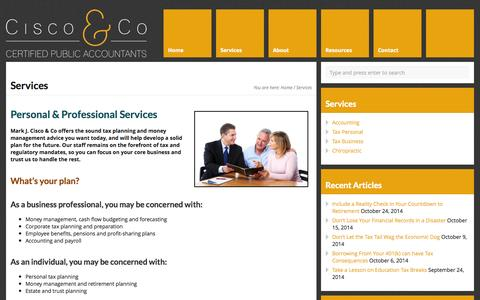 Screenshot of Services Page ciscocpa.com - Accounting & Tax Preparation Services New Bremen, Ohio - captured Oct. 27, 2014