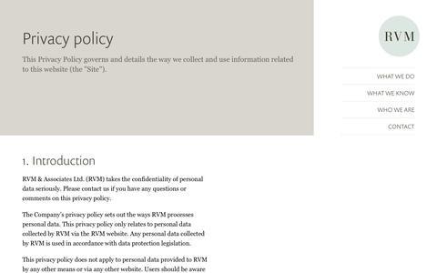 Screenshot of Privacy Page rvonm.co.uk - - RVM - captured Oct. 23, 2017