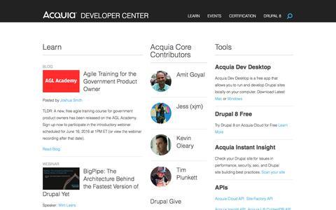 Screenshot of Developers Page acquia.com - Acquia Developer Center - captured June 11, 2016