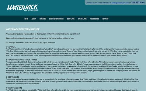 Screenshot of Terms Page waterjack.com - WATERJACK.COM TERMS OF USE - captured Oct. 27, 2014