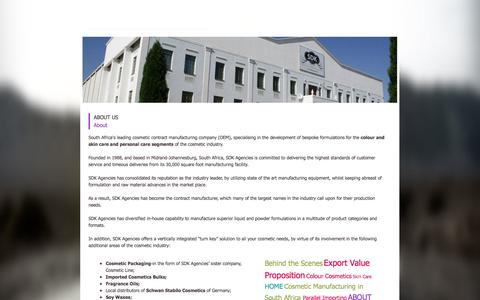 Screenshot of About Page sdkagencies.com - Cosmetic manufacturing South African About SDK Agencies - captured Sept. 30, 2014
