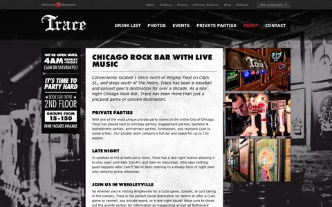 Screenshot of About Page tracechicago.com - Bars Chicago - Chicago Rock Bars | Trace Chicago - captured Oct. 6, 2014