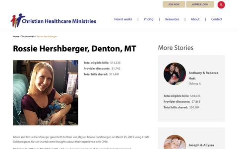 Screenshot of Testimonials Page chministries.org - Denton, MT              | Christian Healthcare Ministries - captured May 16, 2019