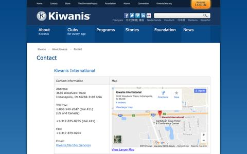 Screenshot of Contact Page kiwanis.org - Contact - captured Nov. 27, 2016