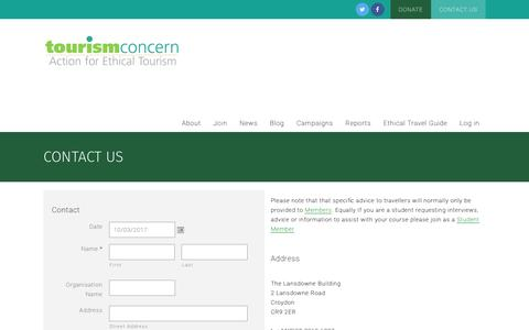 Screenshot of Contact Page tourismconcern.org.uk - Contact us   - captured March 10, 2017