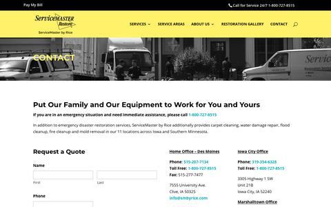 Screenshot of Contact Page servicemasterbyrice.com - Des Moines Cleaning Services & Disaster Restoration - Contact - captured Sept. 21, 2018