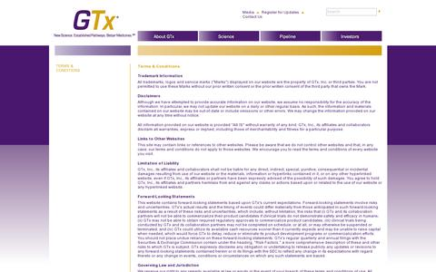 Screenshot of Terms Page gtxinc.com - GTx.com Terms and Conditions - captured July 18, 2014