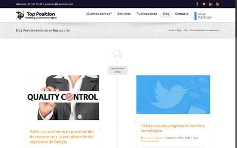 Screenshot of Blog t-position.com - Blog Posicionamiento en Buscadores - Top Position - captured Sept. 24, 2018