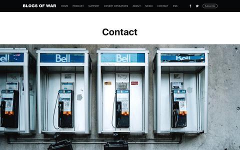 Screenshot of Contact Page blogsofwar.com - Contact - captured Aug. 2, 2018