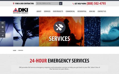 Screenshot of Services Page dkiservices.com - 24-Hour Emergency Services | DKI Disaster Restoration | DKIServices.com - captured Oct. 11, 2017