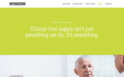 Screenshot of About Page myoderm.com - Global Clinical Trial Supply Services | Commercial Drug Sourcing Specialists - captured Oct. 20, 2018