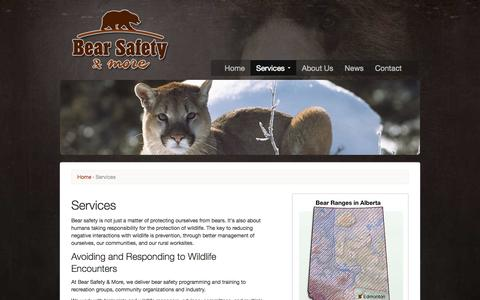 Screenshot of Services Page bearsafety.com - Services | Bear Safety & More - captured Oct. 5, 2014