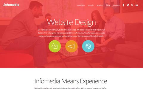 Screenshot of Home Page infomedia.com - Website Design Birmingham AL | Web Design Birmingham - captured Jan. 21, 2015