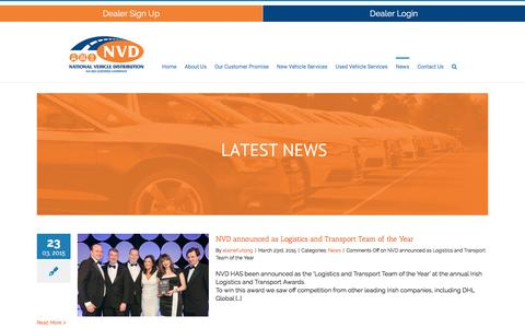 Screenshot of Press Page nvd.ie - News | NVD | National Vehicle Distribution | NVD - captured Feb. 28, 2016