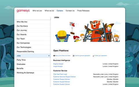 Screenshot of Jobs Page gamesyscorporate.com - Gamesys: Jobs in London - captured Sept. 19, 2014