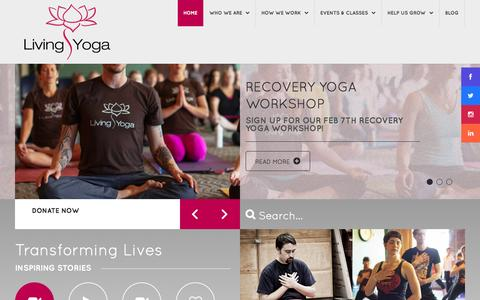 Screenshot of Home Page living-yoga.org - Living Yoga - Helping people create positive change from the inside out - captured Jan. 26, 2015