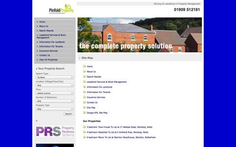 Screenshot of Site Map Page pinfoldproperty.com - Site Map - captured Oct. 2, 2014