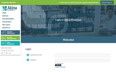 Screenshot of Login Page akinapharmacy.com - Login – Akina Pharmacy - captured July 29, 2018