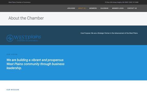 Screenshot of About Page westplainschamber.org - About the Chamber | West Plains Chamber of Commerce - captured Oct. 20, 2018
