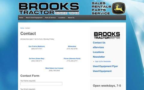 Screenshot of Contact Page brookstractor.com - Contact | Brooks Tractor - captured Oct. 29, 2014