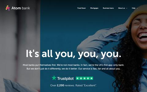Screenshot of Home Page atombank.co.uk - Atom bank. Mortgages and savings accounts on your mobile   Atom - captured Jan. 26, 2019
