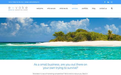 Screenshot of Services Page e-vokemarketing.com - services – E-voke Creative Marketing Group - captured May 27, 2016