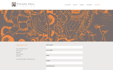 Screenshot of Contact Page talmamillstudios.com - Contact Us - Talma Mill Studios - captured Oct. 19, 2017