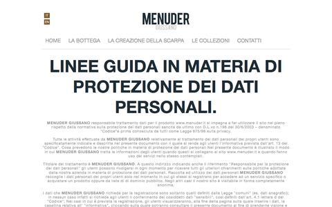 Screenshot of Privacy Page menuder.it - MENUDER - Giussano: L'arte della scarpa - captured Feb. 12, 2016