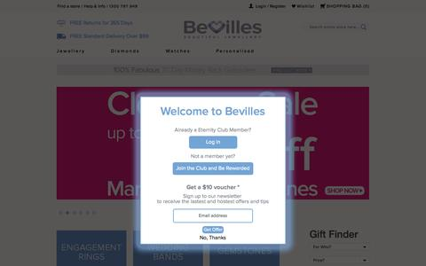 Screenshot of Home Page bevilles.com.au - Jewellery Online, Gold & Silver Jewellery  | Bevilles Jewellery - captured Sept. 10, 2015