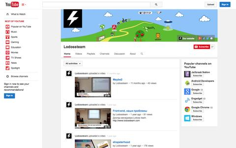 Screenshot of YouTube Page youtube.com - Lodossteam  - YouTube - captured Oct. 22, 2014