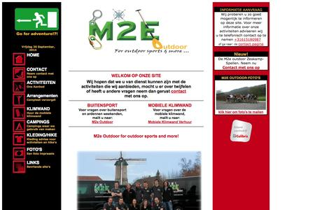 Screenshot of Home Page m2e-outdoor.nl - M2e-outdoor for outdoor sports and more - captured Sept. 26, 2014