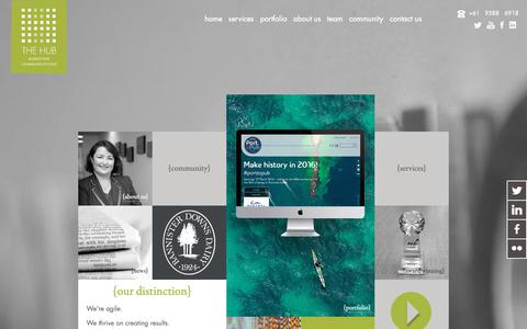 Screenshot of Home Page thehub.net.au - The Hub Marketing Communications - captured Oct. 18, 2018