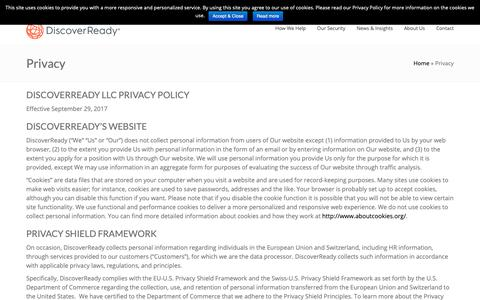 Screenshot of Privacy Page discoverready.com - Privacy Compliance | DiscoverReady - captured Oct. 2, 2018