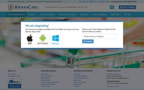 Screenshot of Login Page kiranacart.in - KiranaCart.in - Online Grocery Shopping - captured July 10, 2018
