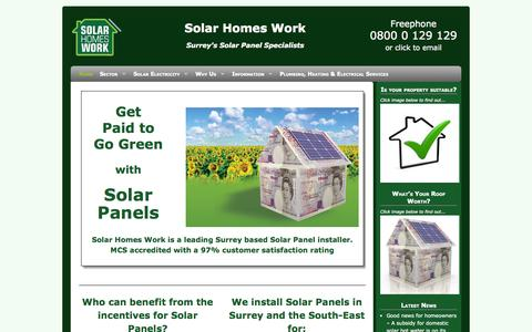 Screenshot of Home Page solarhomeswork.co.uk - Solar Panels for Electricity and Hot Water from a Surrey based installer - captured Oct. 7, 2014