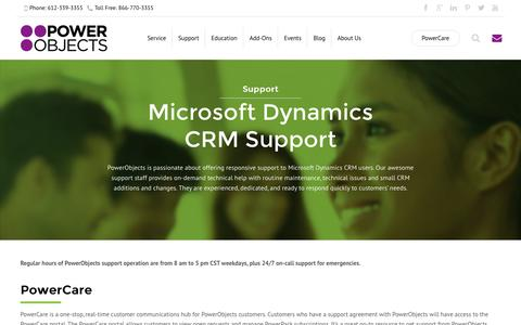 Screenshot of Support Page powerobjects.com - Microsoft Dynamics CRM Support - Dynamics CRM - captured Oct. 1, 2015