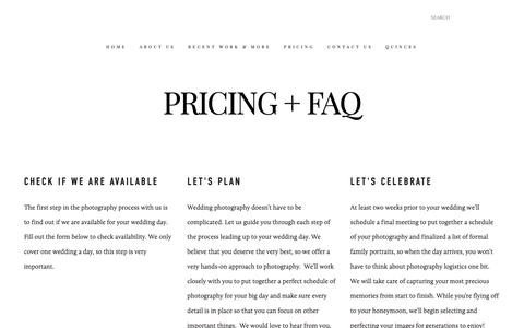 Screenshot of Pricing Page santymartinezphotographers.com - Pricing and FAQ - Photography by Santy Martinez — Phography by Santy Martinez - Miami Wedding Photographers - captured Nov. 18, 2018
