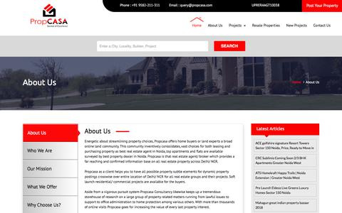 Screenshot of About Page propcasa.com - About Us, ProCASA Consultancy in Noida, Delhi NCR, India. - captured July 23, 2018