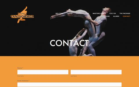 Screenshot of Contact Page youngtanzsommer.com - Contact — Young!Tanzsommer - captured Dec. 11, 2016
