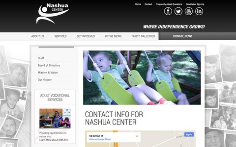 Screenshot of Contact Page Maps & Directions Page nashuacenter.org - Contact Info - captured Oct. 26, 2014